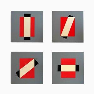 Impressions de Sérigraphie Rotation par Lars-Gunnar Nordström pour Partanen, 1988, Set de 4