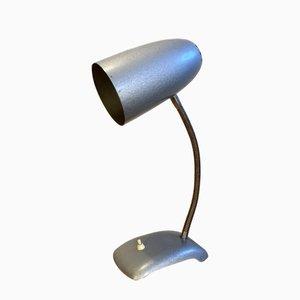Lámpara de escritorio cuello de ganso vintage en gris, años 50
