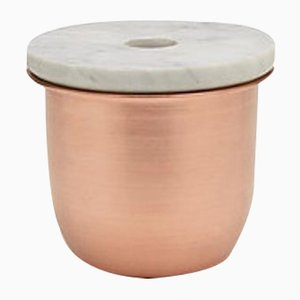 Recipiente C3 pequeño de cobre con tapa de mármol de Grace Souky