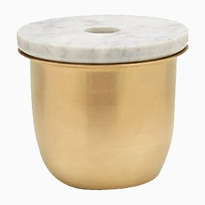 Small Brass C3 Container with Marble Lid by Grace Souky
