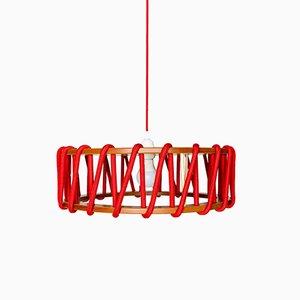 Grande Lampe à Suspension Rouge Macaron par Silvia Ceñal pour Emko