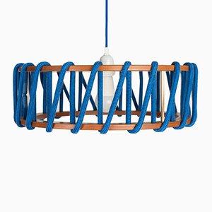 Große blaue Macaron Hängelampe von Silvia Ceñal für Emko
