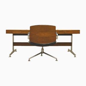 Walnut Executive Desk & FK84 Office Chair by Jorgen Kastholm & Preben Fabricius for Kill International, 1960s