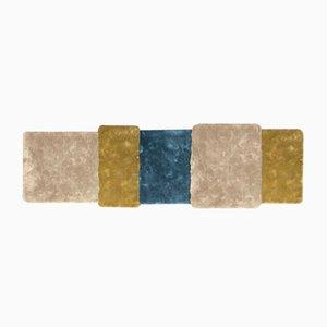 Blau & senfgelb gestreifter Over Teppich von Why Not für Emko