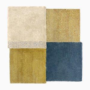 Mittelgroßer blauer & senfgelber Over Square Teppich von Why Not für Emko