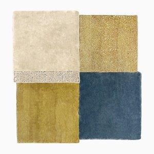 Großer blauer & senfgelber Over Square Teppich von Why Not für Emko