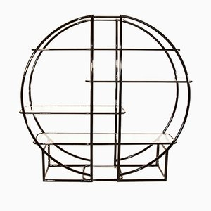 Mid-Century Circular Black Etagere with Glass Display Shelves