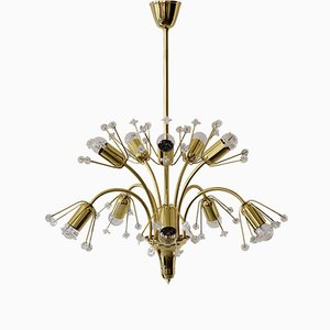Floral Brass & Glass Sputnik Chandelier by Emil Stejnar, 1950s