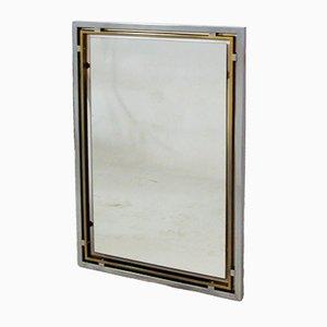 Specchio Mid-Century in ottone e placcato in cromo