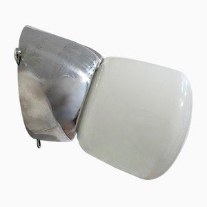 Lampada da parete in vetro opalino e alluminio, Francia, anni '70
