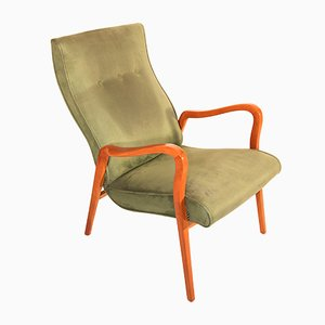 Scandinavian Vintage Armchair in Olive Green