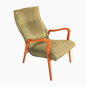 Scandinavian Vintage Armchair in Olive Green