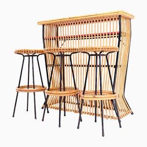 Mueble bar de ratán con 3 taburetes de Dirk van Sliedregt para Gebroeders Jonkers, años 50