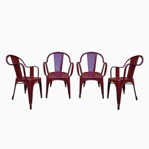 Sillas de jardín modelo C de Xavier Pauchard para Tolix, años 60. Juego de 4