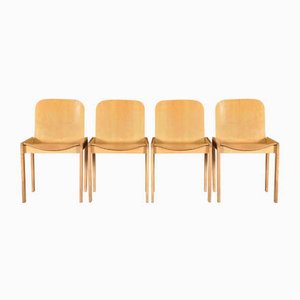 Italian Modern Wood Dining Chairs, 1970s, Set of 4