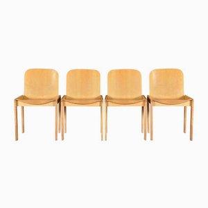 Italienische Esszimmerstühle aus Holz, 1970er, 4er Set