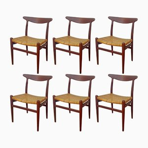 W2 Teak & Cane Dining Chairs by Hans J. Wegner for C.M. Madsen, 1950s, Set of 6