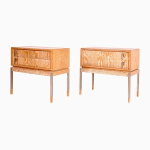 Limed Oak & Metal Bedside Tables, 1950s, Set of 2