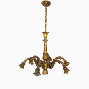 Lámpara de araña italiana vintage de madera con 7 luces