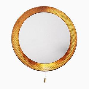 Beleuchteter Mid-Century Spiegel aus perforiertem Messing