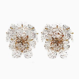 Gold-Plated & Faceted Crystal Sunburst Wall Sconces from Kinkeldey, Set of 2