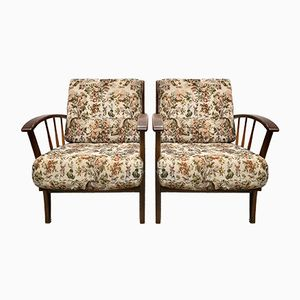 Vintage Wooden Armchairs, Set of 2