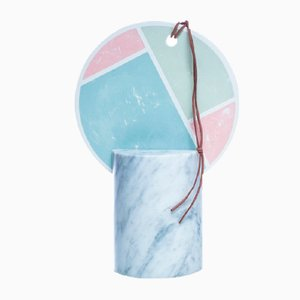 Poudre Table/Wall Mirror with Marble Base by Atelier Macramè