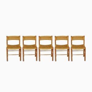 Dordogne Beistellstühle von Charlotte Perriand für Sentou, 1960er, 5er Set