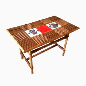 Rattan and Ceramic Coffee Table by Roger Capron, 1960s