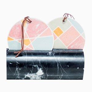 Duo Miroir Mural-Table avec Pied en Marbre par Atelier Macramè