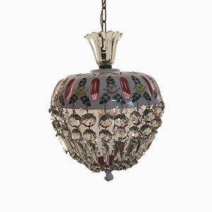 Lámpara colgante veneciana vintage de cristal de Murano
