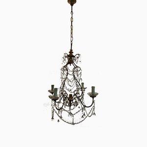 Lampadario vintage con perle in cristallo e gocce in vetro di Murano