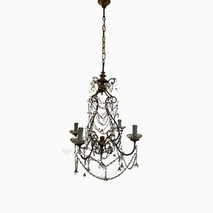 Vintage Crystal Beaded Chandelier with Murano Glass Drops