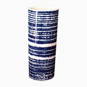 Vaso bianco e blu di Hans Theo Baumann per Rosenthal Studio Line, anni '70