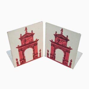 Fermalibri serie Porta di Piero Fornasetti, anni '60, set di 2