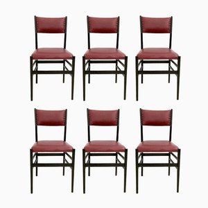 Burgundy Leggera Chairs by Gio Ponti for Cassina, 1950s, Set of 6