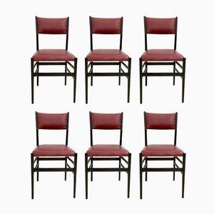 Leggera Stühle in Burgunderrot von Gio Ponti für Cassina, 1950er, 6er Set