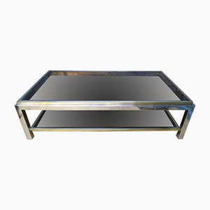 Vintage French Brass & Chrome Coffee Table by Jean Charles