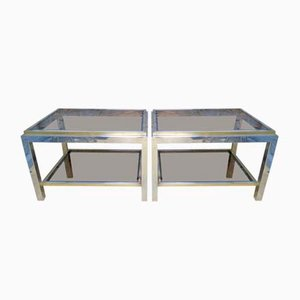 Brass and Chrome End Tables by Jean Charles, 1970s, Set of 2