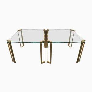 Tables Vintage en Laiton et Verre par Peter Ghyczy, Set de 2