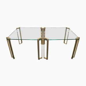 Vintage Brass & Glass End Tables by Peter Ghyczy, Set of 2