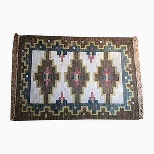 Alfombra Rölakan de tejido plano hecha a mano, años 60