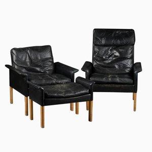 Zwei Mid-Century Sessel & ein Fußhocker von Hans Olsen für Brande Mobelindustri