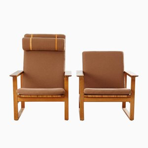 Mid-Century Armchairs by Borge Mogensen for Fredericia, Set of 2