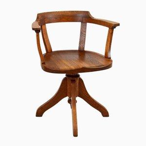 Industrieller Vintage Drehstuhl aus Eichenholz