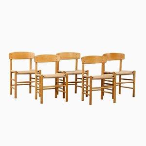 Mid-Century Eiche, Buche & Papierschnur Esszimmerstühle von Børge Mogensen, 5er Set