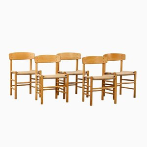 Mid-Century Oak, Beech & Paper Cord Dining Chairs by Børge Mogensen, Set of 5