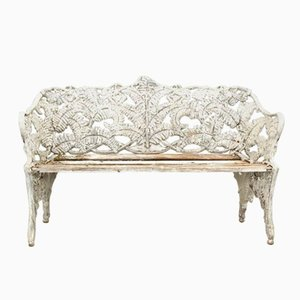 Art Nouveau White Iron Bench