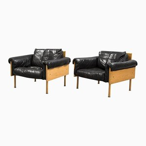 Black Leather & Oak Ateljee Armchairs by Yrjö Kukkapuro for Haimi, Set of 2