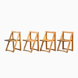 Danish Mid-Century Folding Chairs, Set of 4